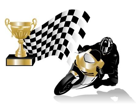 Illustration pour illustration of road racing winner - image libre de droit