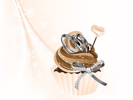 Luxury wedding cupcake with two rings and bow