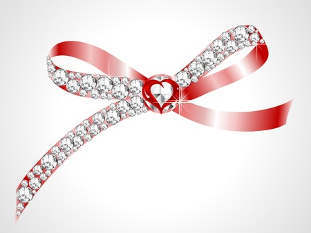 Red bow with the diamonds and heart