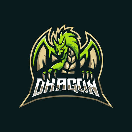 Dragon mascot logo design vector with modern illustration concept style for badge, emblem and t shirt printing. Angry Dragon illustration for sport and e-sport team