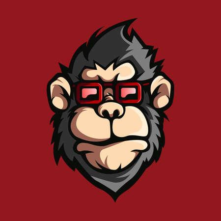 Illustration pour Monkey with glasses design logo vector - image libre de droit