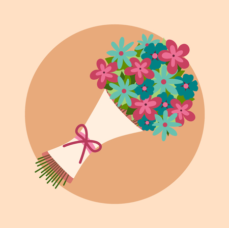 Illustration pour Bouquet of flowers. Design for wedding, Valentine's Day, birthday. Bright colors. - image libre de droit