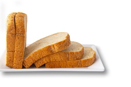 Foto für Sliced bread in a white tray, isolated on a white background. - Lizenzfreies Bild