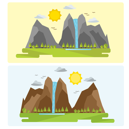 Two types of mountain landscape design. Without contour drawing.