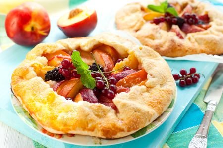 peach galette with blackberry and red currant