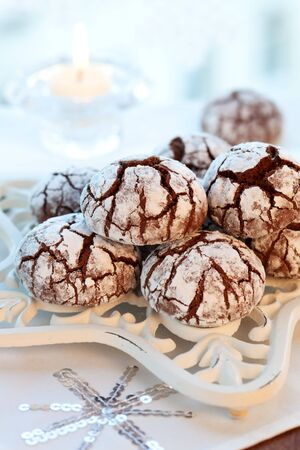 Chocolate biscuits with icing sugar