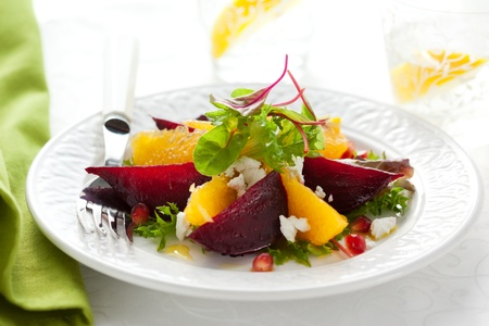 salad of beetroot,goat cheese,orange and pomegranate