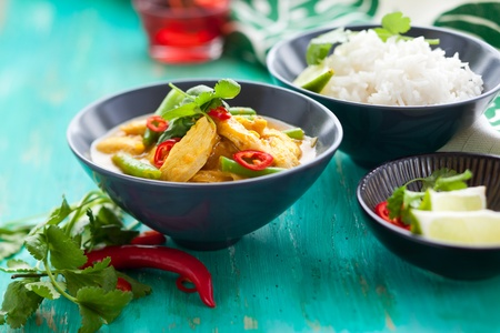 Chicken curry with green beans  and rice