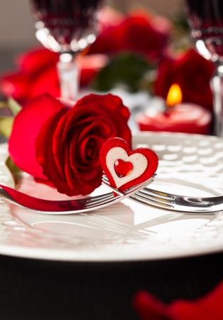 Festive place setting for Valentine