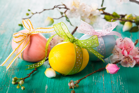 Photo for Easter decoration with spring flowers and  eggs - Royalty Free Image