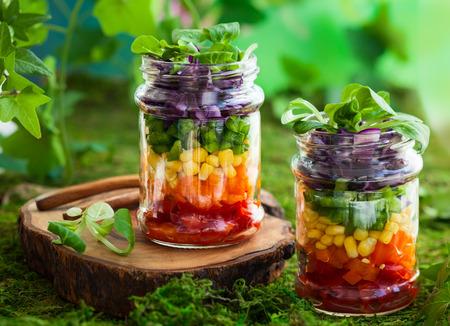 Photo pour Vegetarian Rainbow salad in a glass jar for summer picnic - image libre de droit