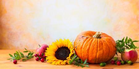 Photo pour Autumn concept with flowers,pumpkin and seasonal fruits - image libre de droit