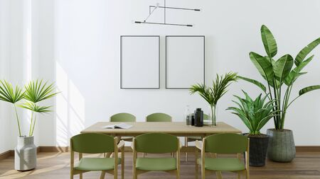 Photo pour Modern bright interiors apartment with dining table,3D rendering illustration - image libre de droit