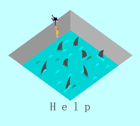 Help concept,Vector,Businessman tries to pull a woman out of a water and shark,vector.