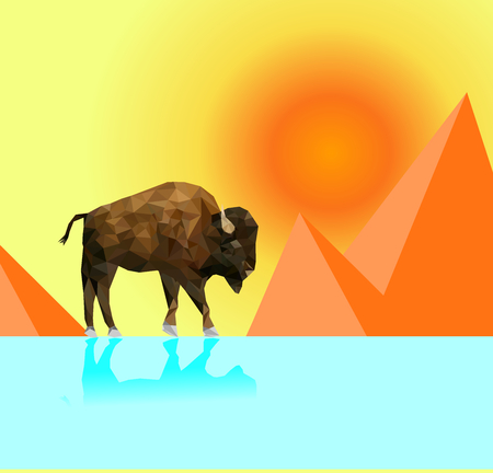 Isolated low poly bison and desert with sun background