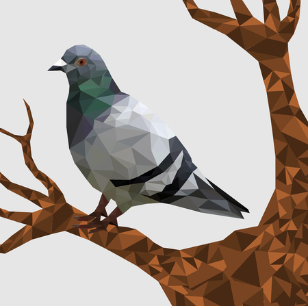 Low poly pigeon bird on dry tree with gray back ground