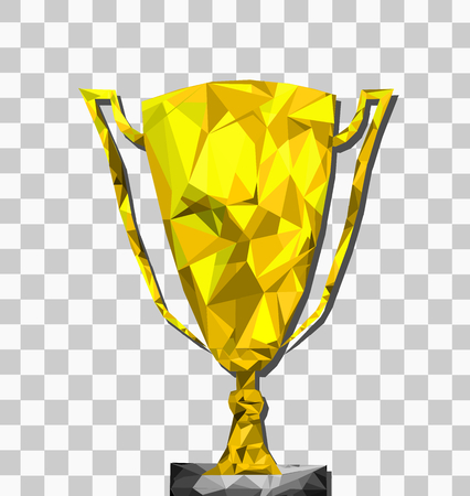 Low poly trophy transparent background with tra, champion,winner concept,Vector.