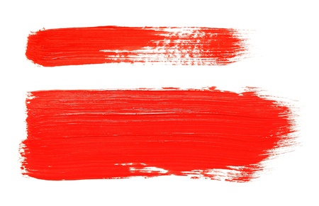 Red color poster brush isolated on white background