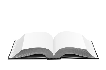 Open book on white background.