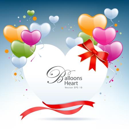 Balloon heart card happy valentine day illustration