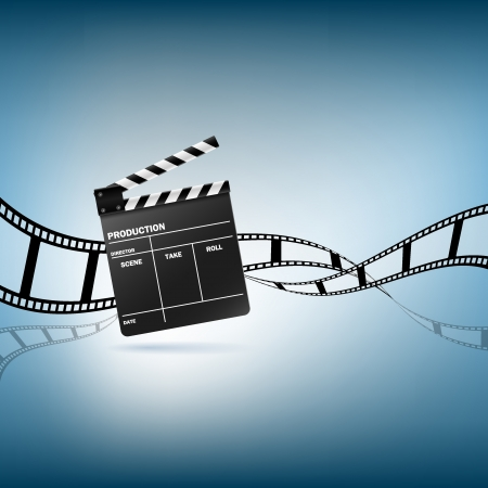Cinema clapper and film vector illustration
