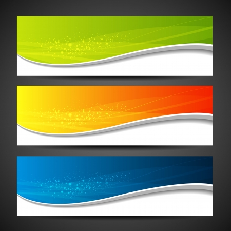 Illustration pour Collection banners modern wave colorful background illustration - image libre de droit