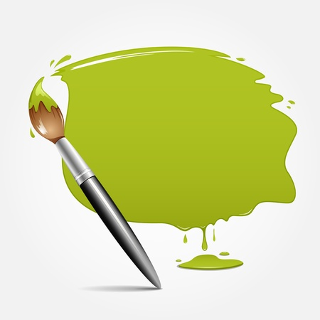 Paint brush  green background, vector illustration