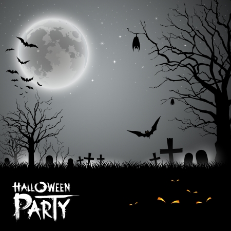Halloween party scary background, illustration