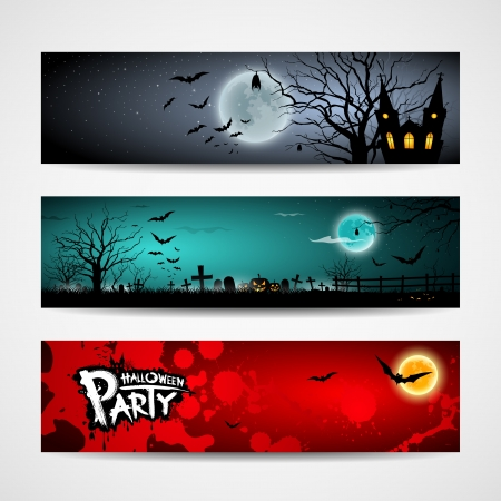 Happy Halloween day banner design set, illustration