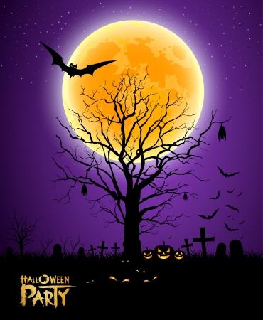 Halloween tree full moon background