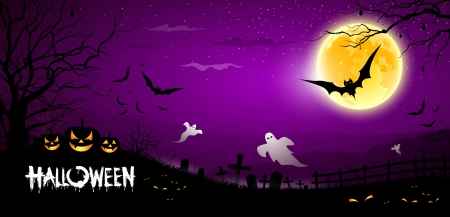 Happy Halloween ghost scary purple background