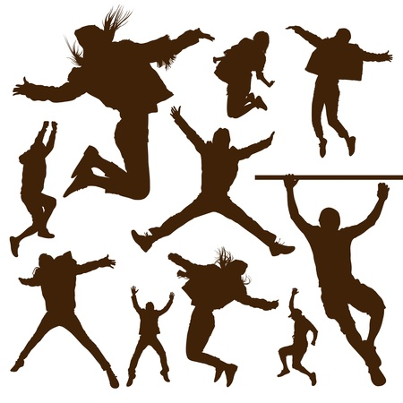 Silhouette people jumping design background