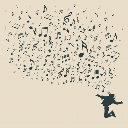 Silhouette various musical notes and people dance, vector