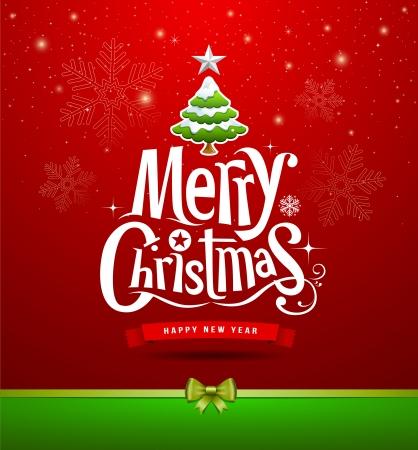 Merry Christmas lettering design background