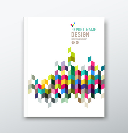 Cover annual report and brochure colorful geometric design background