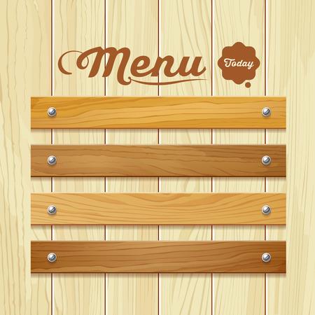Menu wood board design background vector illustration
