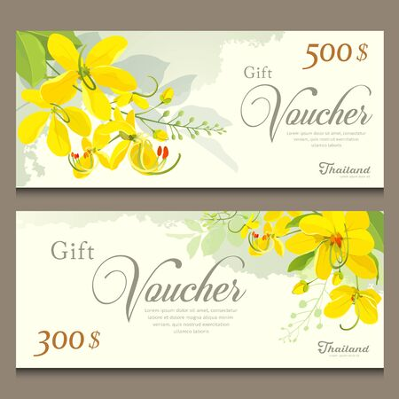 Illustration for Gift voucher flower of Thailand, Cassia Fistula template design - Royalty Free Image