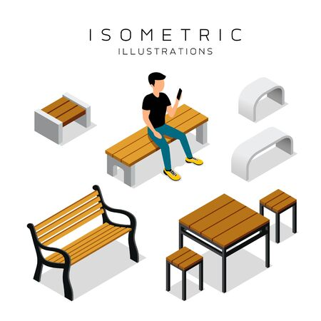 Magnificent Vector Isometric Wooden Bench Collection With Man Shirt Machost Co Dining Chair Design Ideas Machostcouk
