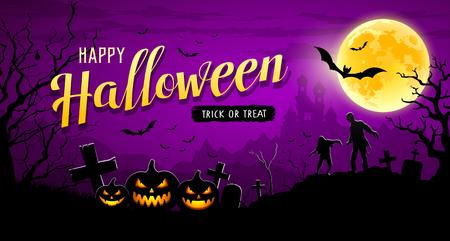 Illustration pour Happy Halloween banner  on moon night purple background - image libre de droit