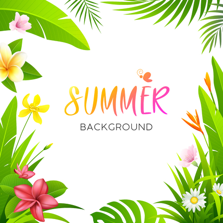 Illustration pour Summer tropical flower  and green leaf isolated - image libre de droit