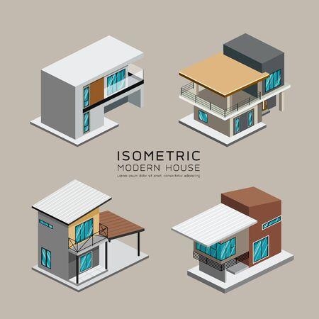 Photo pour Vector Modern house isometric collections design background, illustration - image libre de droit