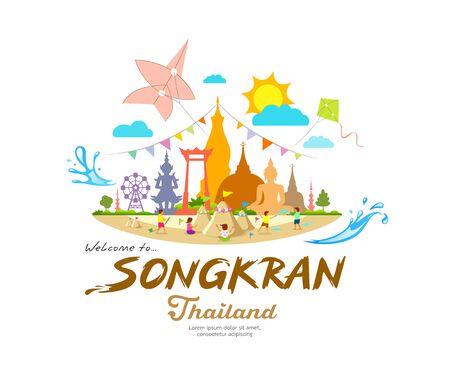 Illustration pour Amazing Songkran Festival, summer sand pagoda with, Important places in Thailand, design background vector illustration - image libre de droit