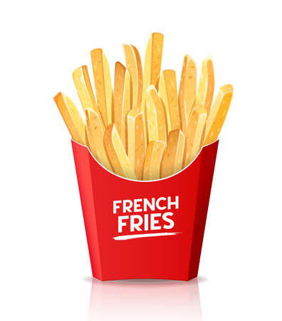 Illustration for French fries, fresh food in red box packaging template design. isolated on white background vector illustration - Royalty Free Image