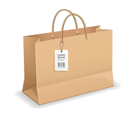 Illustration for Brown paper bag shopping, with rope handles, and label template mock up design, isolated on white background - Royalty Free Image