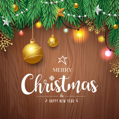 Illustration for Merry Christmas pine leaves and gold ball, color light bulb, concept design on brown wood background, Eps 10 vector illustration - Royalty Free Image