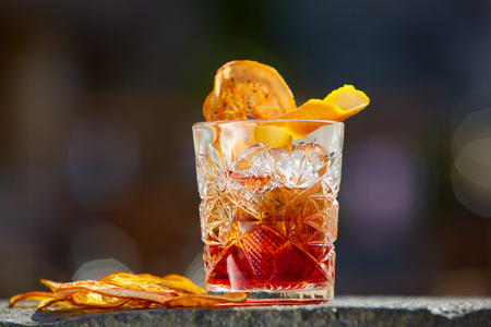 Photo pour The Negroni. Old fashioned cocktail. Shallow dof - image libre de droit