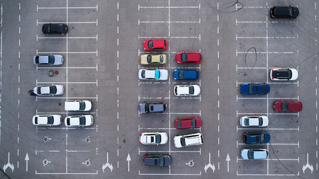 Photo pour Car parking lot viewed from above, Aerial view. Top view - image libre de droit