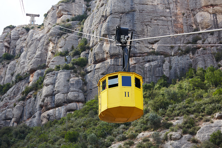Photo for Cableway, Montserrat monastery on mountain in Barcelona, Catalon. - Royalty Free Image