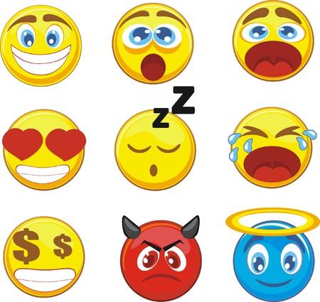 Foto per set 9 emoticons - Immagine Royalty Free