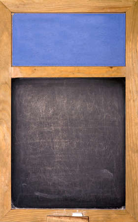 Emty blackboard with blue area and chalk